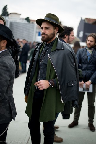 How to wear: black leather biker jacket, olive shawl cardigan, black gingham long sleeve shirt, black skinny jeans