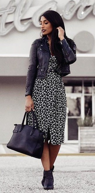 How to wear: black leather biker jacket, black and white print sheath dress, black leather ankle boots, black leather tote bag