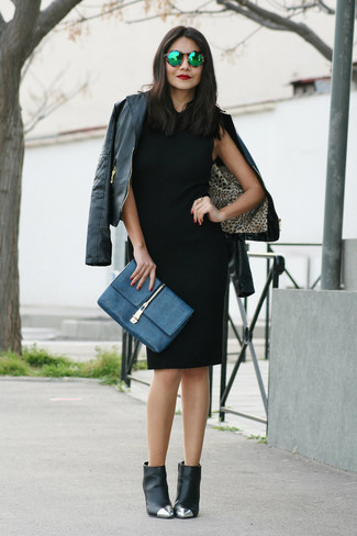 How to wear: black leather biker jacket, black sheath dress, black embellished leather ankle boots, navy leather clutch