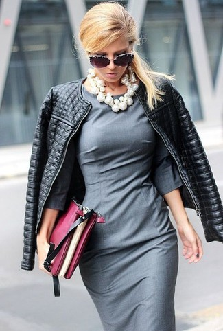 How to wear: black quilted leather biker jacket, grey sheath dress, burgundy leather clutch, black embellished sunglasses