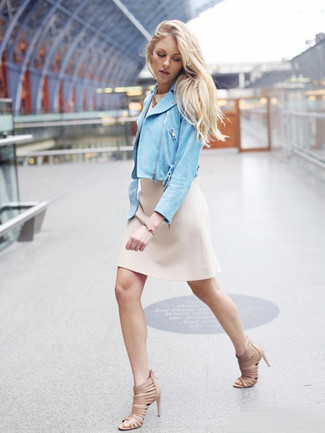 How to wear: light blue suede biker jacket, beige sheath dress, beige leather heeled sandals, gold bracelet