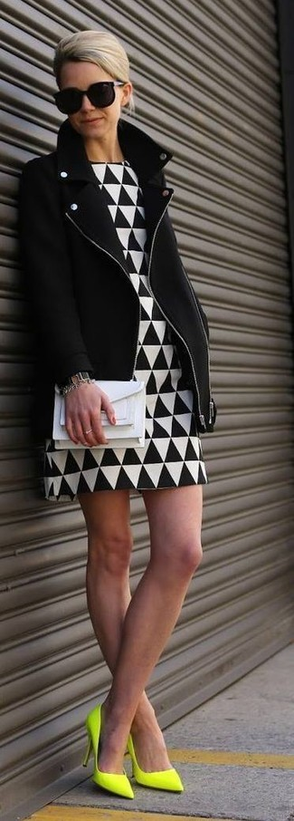 How to wear: black biker jacket, white and black geometric sheath dress, green-yellow leather pumps, white leather clutch