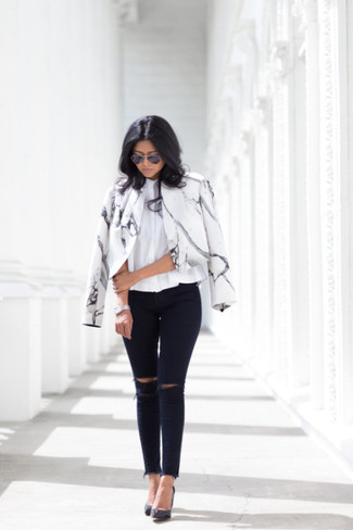 509c4c955a8 Women s White and Black Print Biker Jacket
