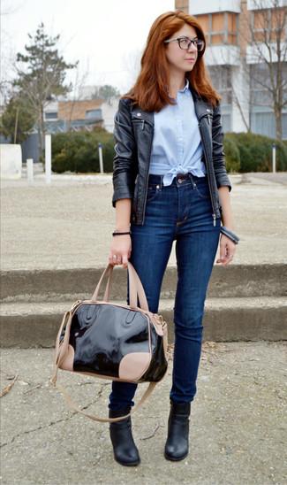 1feb4553367ef ... Women s Black Leather Biker Jacket