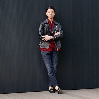 Men's Outfits 2020: A black leather biker jacket looks so laid-back and cool when married with navy jeans. And if you want to immediately amp up this look with shoes, why not complete your outfit with black embroidered velvet loafers?