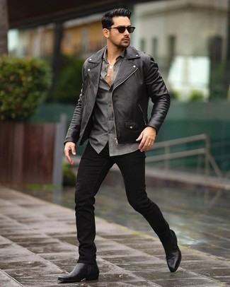 Black Leather Jacket with Black Jeans Outfits For Men: Marry a black leather jacket with black jeans and you'll be ready for wherever the day takes you. Polish up this outfit with the help of a pair of black leather chelsea boots.