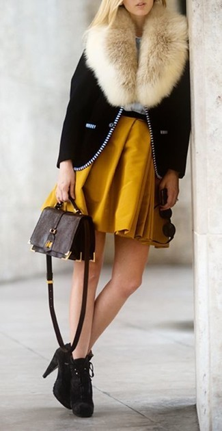 How to wear: black biker jacket, mustard skater skirt, dark brown suede ankle boots, dark brown leather crossbody bag
