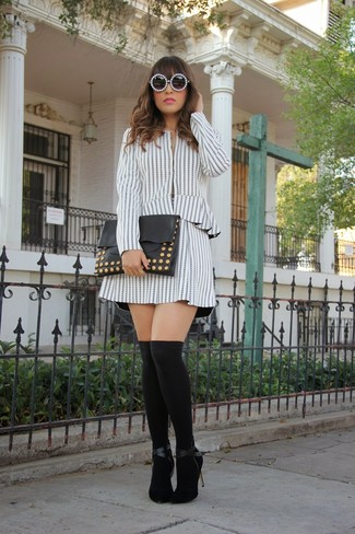 How to wear: white and black vertical striped biker jacket, white and black vertical striped skater skirt, black suede pumps, black knee high socks