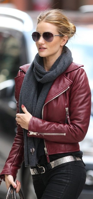 A Tod's Leather Biker Jacket Burgundy and black skinny jeans will showcase your sartorial self. You can bet this combo is the answer to all of your transitional wear problems.