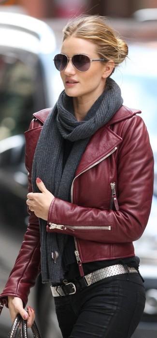 Leather Biker Jacket Burgundy