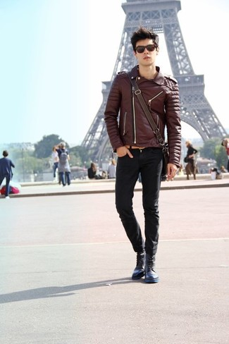 How to wear: dark brown leather biker jacket, black skinny jeans, navy leather casual boots, dark brown leather messenger bag