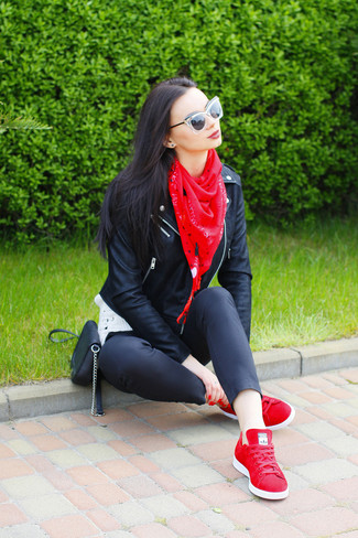 How to wear: black leather biker jacket, black skinny pants, red low top sneakers, black leather crossbody bag