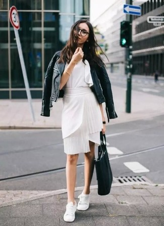 How to wear: black quilted leather biker jacket, white ruffle sleeveless top, white pencil skirt, white low top sneakers