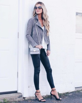 How to wear: grey suede biker jacket, white sleeveless top, black quilted leather skinny pants, black suede heeled sandals