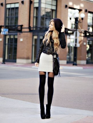 Consider wearing a black leather biker jacket and a Betsey Johnson women's Fringe Party Crossbody for an easy to wear look. Elevate this getup with black suede ankle boots. It goes without saying that this one makes for a great, spring-ready combo.