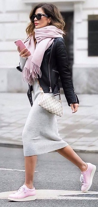 How to wear: black leather biker jacket, grey sweater dress, pink leather low top sneakers, grey check leather crossbody bag