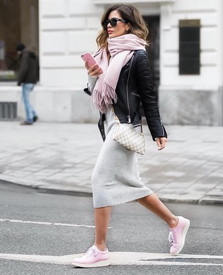 How to wear: black leather biker jacket, grey sweater dress, pink leather low top sneakers, grey check canvas crossbody bag