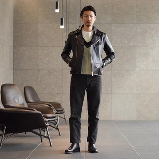 Black Leather Chelsea Boots Outfits For Men: This ensemble with a black leather biker jacket and charcoal jeans isn't super hard to achieve and is easy to adapt. Bring a smarter twist to an otherwise simple getup by sporting black leather chelsea boots.