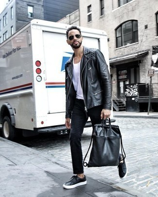 Men's Looks & Outfits: What To Wear Casually: This casual pairing of a black leather biker jacket and black jeans takes on different forms depending on how it's styled. A cool pair of black leather low top sneakers ties this ensemble together.