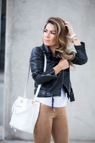 How to wear: black leather biker jacket, white tank, tan suede leggings, white leather bucket bag