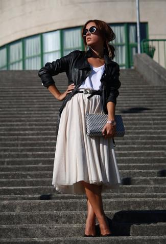 How to wear: black leather biker jacket, white tank, beige pleated midi skirt, black suede pumps