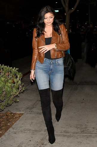 How to wear: brown leather biker jacket, black tank, light blue skinny jeans, black suede over the knee boots
