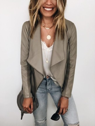 How to wear: grey leather biker jacket, white lace tank, light blue ripped skinny jeans, charcoal leather crossbody bag