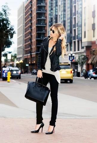 Women's Black Leather Biker Jacket, Grey Tank, Black Skinny Jeans, Black Leather Pumps