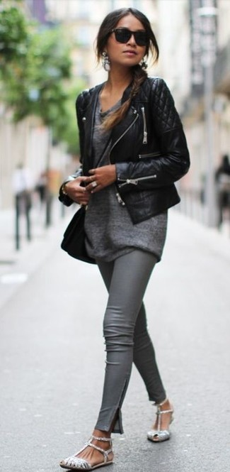 How to wear: black quilted leather biker jacket, grey tunic, grey leather leggings, silver sequin flat sandals
