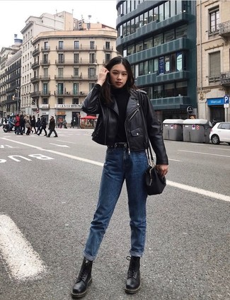How to Wear Blue Boyfriend Jeans: The versatility of a black leather biker jacket and blue boyfriend jeans guarantees you'll have them on heavy rotation in your closet. For extra fashion points, add a pair of black leather lace-up flat boots to the equation.