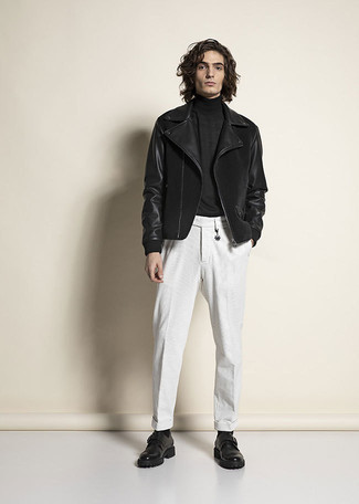 Black Turtleneck Outfits For Men: The combination of a black turtleneck and white chinos makes for a solid casual look. Not sure how to complete your ensemble? Rock a pair of black leather monks to ramp it up a notch.