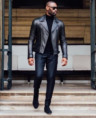 How to wear: black leather biker jacket, black turtleneck, black dress pants, black suede chelsea boots