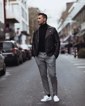 Black Leather Jacket with White Sneakers Smart Casual Chill Weather Outfits For Men: This pairing of a black leather jacket and grey dress pants is a fail-safe option when you need to look seriously stylish in a flash. White sneakers are a simple way to upgrade this outfit.