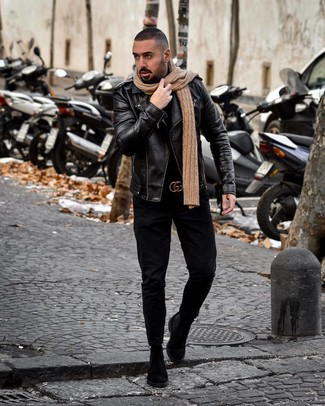 How to Wear Black Jeans For Men: Rock a black leather biker jacket with black jeans for an everyday outfit that's full of style and personality. A pair of black suede chelsea boots effortlesslly turns up the style factor of any look.