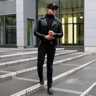 How to wear: black leather biker jacket, black turtleneck, black jeans, black leather chelsea boots