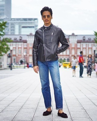 Blue Jeans with Black Leather Jacket Outfits For Men: A black leather jacket and blue jeans are essential in any modern man's functional off-duty sartorial collection. Finish this getup with dark brown suede tassel loafers to serve a little mix-and-match magic.
