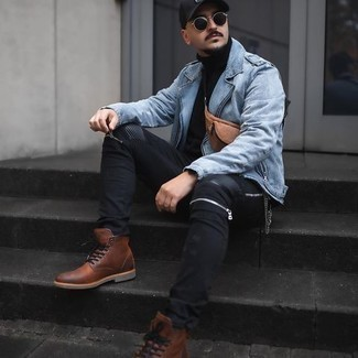 Black Jeans Outfits For Men: For relaxed dressing with a modern spin, try teaming a light blue biker jacket with black jeans. Brown leather casual boots will bring an extra touch of elegance to an otherwise straightforward look.