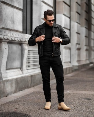 Tan Suede Chelsea Boots with Black Jeans Smart Casual Fall Outfits For Men: Choose a black leather biker jacket and black jeans for both sharp and easy-to-create ensemble. Rounding off with a pair of tan suede chelsea boots is the most effective way to infuse a dash of sophistication into this look. It's is a viable pick when it comes to a cool getup that transitions easily into fall.