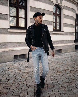 Black Leather Work Boots Warm Weather Outfits For Men: For comfort dressing with a modernized spin, you can easily dress in a black leather biker jacket and light blue jeans. For a truly modern mix, complement this ensemble with a pair of black leather work boots.
