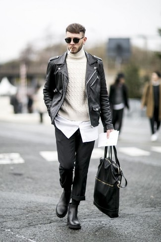 How to Wear a Black Leather Biker Jacket For Men: Choose a black leather biker jacket and black chinos to create an interesting and current casual ensemble. Inject a dose of polish into your outfit by rounding off with a pair of black leather chelsea boots.