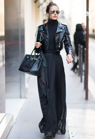 How to wear: black embellished leather biker jacket, black turtleneck, black pleated maxi skirt, black suede over the knee boots