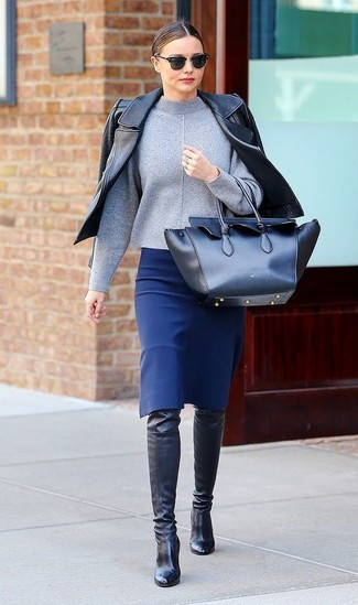 Miranda Kerr wearing Black Leather Biker Jacket, Grey Turtleneck, Blue Pencil Skirt, Black Leather Over The Knee Boots