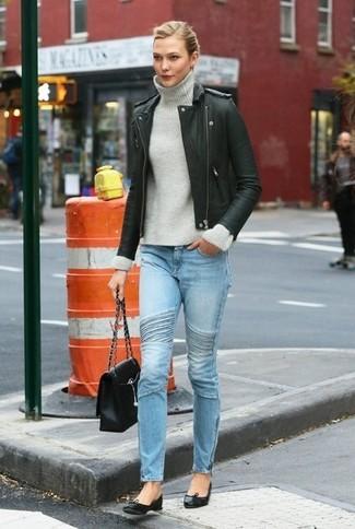 Biker jacket turtleneck skinny jeans ballerina shoes satchel bag large 6408