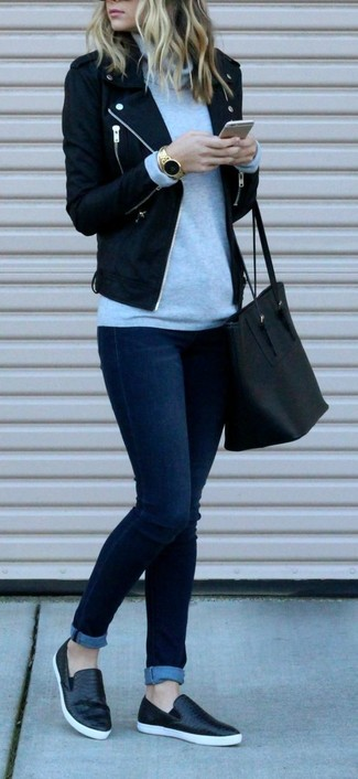 How to wear: black wool biker jacket, grey turtleneck, navy skinny jeans, black leather slip-on sneakers