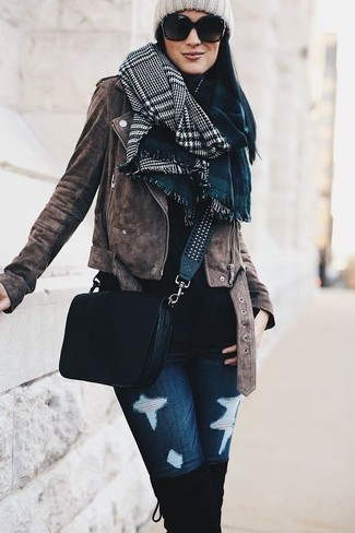 How to wear: brown suede biker jacket, black turtleneck, navy ripped skinny jeans, black suede over the knee boots