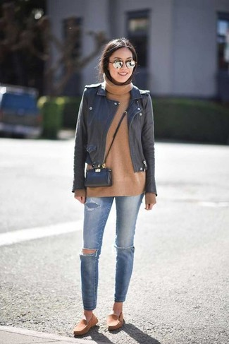 How to wear: black leather biker jacket, tan wool turtleneck, blue ripped skinny jeans, tan suede espadrilles