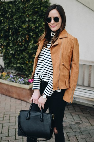 How to wear: tan suede biker jacket, white and black horizontal striped turtleneck, black ripped skinny jeans, black leather tote bag