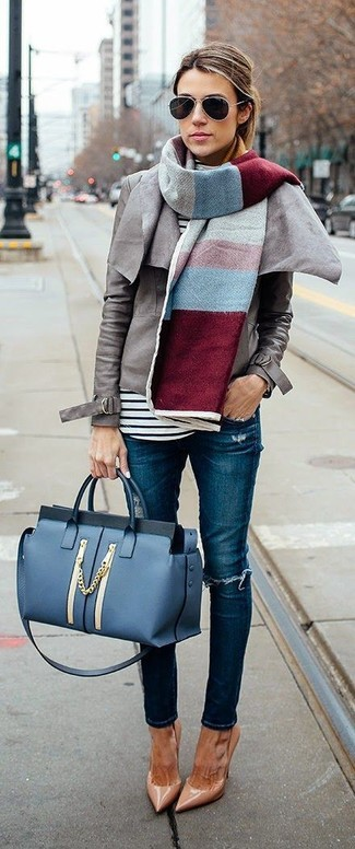 How to wear: grey leather biker jacket, white and black horizontal striped turtleneck, blue ripped skinny jeans, tan leather pumps