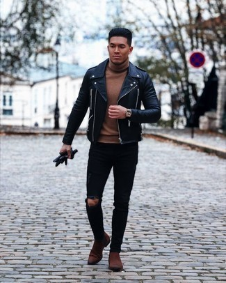 Black Leather Gloves Outfits For Men: Consider wearing a black leather biker jacket and black leather gloves if you seek to look casual and cool without exerting much effort. A pair of brown suede chelsea boots will take your getup a dressier path.