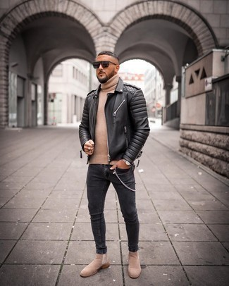 Casteu Quilted Leather Moto Jacket Black